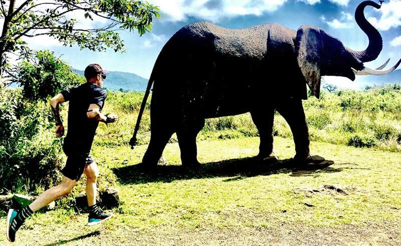 Rubén Lopez corriendo al lado de un elefante